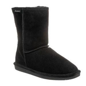 Bearpaw Emma Short Black Furry Boots
